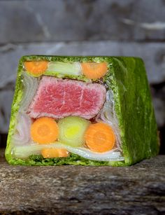 """My """"pot au feu"""" style Terrine with a major twist as the beef in the centre need to be tender, so is made with beef filet."""