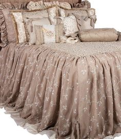 The Athens bedding combines an array of linens to create a shabby chic look with a distinctive Reilly-Chance twist. The fabrics themselves are detailed with small rhinestones, ribbon scrolls, tiny...