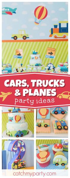 Take a look at this awesome Cars, trucks and planes birthday party. The cupcakes are so cute!! See more party ideas and share yours at CatchMyParty.com #cars #boybirthday