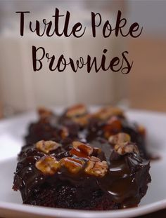 Turtle Poke Brownies Recipe | Adding salted caramel, chocolate sauce, dark chocolate frosting, pecans and mini chocolate chips takes the basic brownie out of this world. You can start with a simple box mix or whip up your own. Click for the recipe and how-to video. #sweets #decadentdesserts #chocolate #chocolatelovers #boxbrownies
