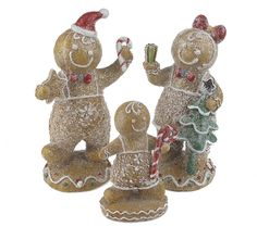 So sweet, they're sure to make anyon smile. Each member of this adorable gingerbread family wears a big smile, a frosted outfit, and has red and white accents. H17613