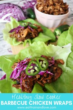 These barbecue chicken lettuce wraps will be your new favorite meal. They're so incredibly easy to make, right in your slow cooker, and made with a delicious, healthy barbecue sauce that will make you lick the plate clean. Click here for the full recipe! Healthy slow cooker recipes | clean eating | meal prep | lettuce wraps | low carb recipes #lowcarb #barbecuechicken #slowcookerrecipes #healthydinner