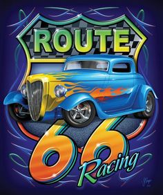 Find a Mink Racing Route 66 Blanket for yourself or a loved one, or choose from our selection of snuggly mink blankets and never use your old comforter ag Route 66 Sign, Old Route 66, Route 66 Road Trip, Us Road Trip, Cool Car Drawings, Harley Davidson Art, Tin Signs, Metal Signs, Car Posters