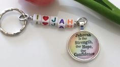 JW.ORG keychain/Jehovah is our Strength keychain/JW gifts/jw accessories/zipper pull/zipper charm/keychain/bag accessory/pendant/silver by HopesDesignsStudio on Etsy