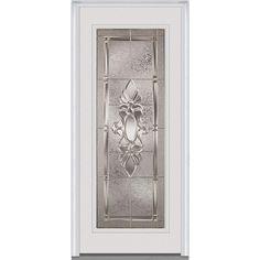 Milliken Millwork 33.5 in. x 81.75 in. Heirloom Master Decorative Glass Full Lite Painted Majestic Steel Exterior Door, Brilliant White