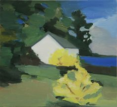 Maureen Gallace  Lake House With Forsythia  2006  oil on panel  11 x 12 inches