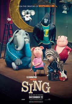 Free Watch Sing : Movie A Koala Named Buster Recruits His Best Friend To Help Him Drum Up Business For His Theater By Hosting A Singing. Sing 2016, Sing Movie 2016, Illumination Entertainment, Singing Competitions, Film D'animation, New Poster, Matthew Mcconaughey, Disney Films, Animation Movies