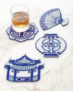Ming Coasters, 4-Piece Set, Indwht - Kim Seybert