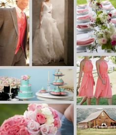 Coral and Turquoise colored wedding in a rustic setting such as a barn.