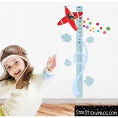 Medidor Avión confeti - Vinilos infantiles