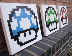 Mario Mushrooms  3 Canvases handmade with Spray Paint by Ramart79, £60.00