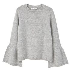 MANGO Flared Sleeves Sweater ❤ liked on Polyvore featuring tops, sweaters, long sleeve knit tops, knit top, long sleeve cable knit sweater, long bell sleeve tops and bell sleeve sweater