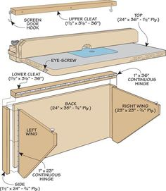 Space-Saving Router Table: A unique fold-up design features a large worksurface. Wood Router Table, Router Table Plans, Workbench Table, Router Woodworking, Woodworking Projects, Continuous Hinges, Diy Garage Storage, Workshop Storage, Folded Up