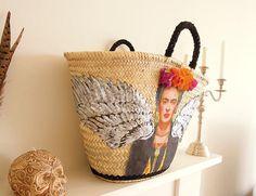 Frida Kahlo straw basket Market basket Viva Frida Large