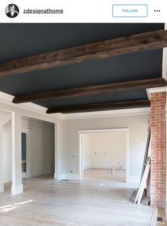 Exposed brick. Beams. Ceiling paint color.                                                                                                                                                                                 More