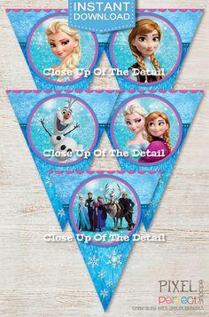 INSTANT DOWNLOAD Frozen Birthday Banner by PixelPerfectShoppe, $5.00