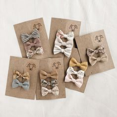 """Handmade bows curated into perfect sets"" baby girl bows. Earthy tones. Www.billybibs.com"