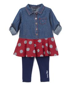 Loving this Blue & Red Polka Dot Tunic & Leggings - Infant & Kids on #zulily! #zulilyfinds