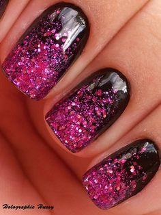 nails design art black fuchsia glitter
