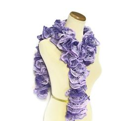 Hand Knit Ruffled Scarf   Lavender Purple by ArlenesBoutique, $28.95