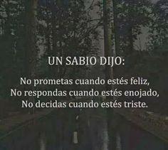 UN SABIO DIJO: No prometas cuando estés feliz, no respondas cuando estés enojado, no decidas cuando estés triste.
