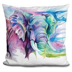 Lilipi Elephant Decorative Accent Throw Pillow, Multi (Velvet)
