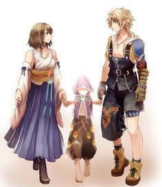 Summoner Yuna alongside her faithful guardian and close friend Tidus and the fayth of the powerful dragon Bahamut.
