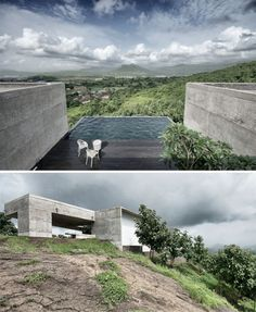House with vanishing edge pool in Maharashtra, India