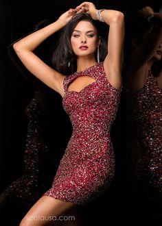 Scala 48336 - Port Sequin Sleeveless Short Dress - RissyRoos.com
