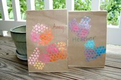 Use bubble wrap + paint to decorate paper lunch bags!