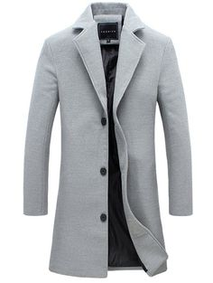 Single-Breasted Lapel Slim Woolen Coat - GRAY XL