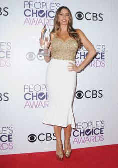 The Best Red Carpet Looks from the 2017 People's Choice Awards  Sofia Vergara won an award at the PCA and looked *amazing* as she posed with it!