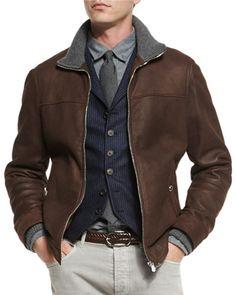 N44HQ Brunello Cucinelli Leather Pilot Jacket w/Cashmere Trim, Dark Brown