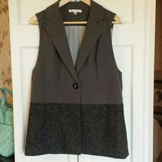 CAbi sleeveless blazer vest Tweed at bottom, soft flannel suiting on top half.Excellent condition CAbi Jackets & Coats Vests