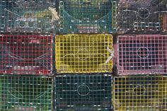 Multicolor Lobster traps - spray paint bright colors and stack to form a wall