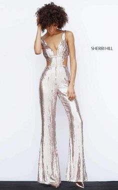 Check out the deal on Sherri Hill 51350 Sequin Cutout Fitted Jumpsuit at French Novelty Prom Jumpsuit, Disco Jumpsuit, Sparkly Jumpsuit, Sequin Jumpsuit, Fitted Jumpsuit, Formal Jumpsuit, Disco Pants, Theme Nouvel An, Look Disco