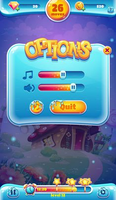 Sweet world mobile game user interface GUI sound volume screen for video web design Level Design, World Mobile, 2d Game Art, 2d Art, Casual Art, Game Ui Design, Web Design, Game Gui, Gaming Banner