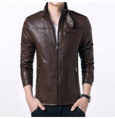 Gordania Stylish Slim Fit Formal Faux Leather Jacket For Men GD282BR   eBay