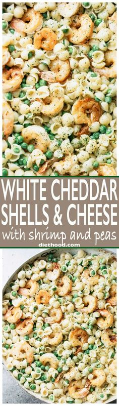White Cheddar Shells and Cheese with Shrimp and Peas - Made with lightened up creamy white cheddar cheese sauce, pasta shells, and sweet peas, Shrimp Shells and Cheese puts a new spin on ordinary mac 'n cheese and the whole family will LOVE it! via @diethood