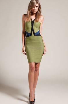 Herve Leger Colorblock Bandage Dress Green