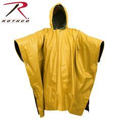 Rothco Reversible PVC Ponchos Military Poncho, Insect Repellent Clothing, Mens Poncho, Army Navy Store, Poncho Design, Weather Rain, Rain Poncho, Yellow Raincoat, Rain Wear
