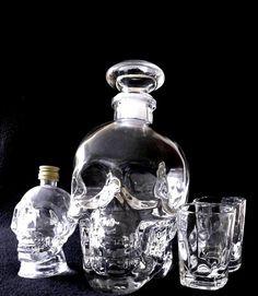 Crystal HEAD SKULL glass vodka 750 ml New empty  SET