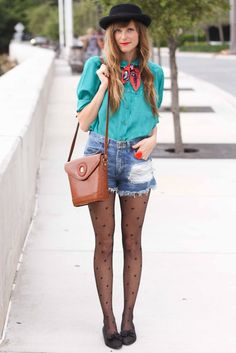 Heart tights, jean shorts and a scarf.