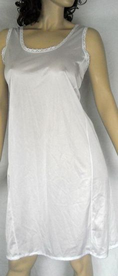 Velrose Silky White Full Slip With Lace Size 42 Ships Free in the USA