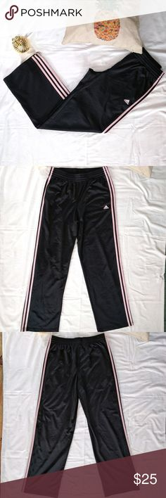 "Adidas 3-Stripe Basketball/Sport Pants *Adidas 3-Stripe Basketball/Sport Pants  *Perfect pink stripes down sides! *Iconic look with a girly touch! *Drawstring inside waistband *Size medium, true to size *Like new  *31"" inseam *11"" rise *41.5"" outseam  Please feel free to make an offer or ask questions!  xoxo Karlynn [: Adidas Pants Track Pants & Joggers"