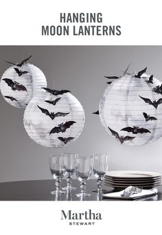 Create an eerie tabletop scene for your Halloween party with these easily-assembled full moon lanterns. Shop the Martha Stewart Halloween décor collection only at Michaels.
