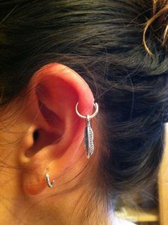 Silver Feather on Hoop Earring. $16.00, via Etsy.
