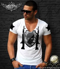 Premium Quality designer White Men's t-shirt Camouflage RB Design Skull logo Tank Top tee deep V-neck army guns trendy weapon D638 by RBdesignstore on Etsy https://www.etsy.com/listing/246597274/premium-quality-designer-white-mens-t