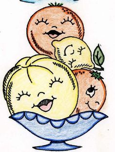 Hand Embroidery Transfer repo 692 Animated Bowls of Fruit for Kitchen Towels