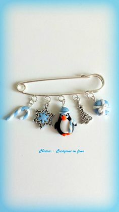 #Christmas #pin #penguin #brooch #polymerclay Christmas pin penguin brooch polymer clay christmas charms